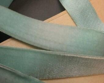 Vintage Pastel blue velvet ribbon w silk back Victorian 1 in wide aqua blue Y927