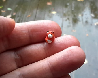 micro fox, micro red fox, miniature fox, miniature clay animal, clay animal figurine, terrarium decoration, tiny little miniatures