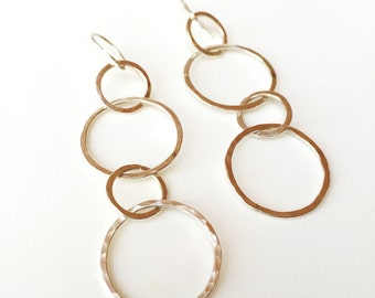 Organic sterling silver interlocking hoop earrings - with hammered links and ear wires
