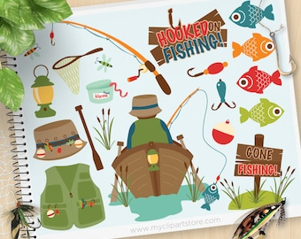 Fishing Clipart, Father's day, fishing tackle, camping, boat, fishing rod, fisherman, Personal and Commercial Use Vector Clip Art, SVG Files