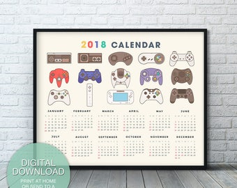 Printable Calendar 2018, Video Game Controllers, Nintendo, Xbox Video Game Printable Art, Microsoft Xbox one, Video Game Decor, Game room