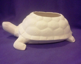 "Turtle Planter ready to paint 12"" Long  x  5"" deep , glazed inside"