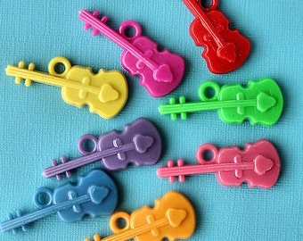 SALE 10 Violins Charms Large Kitschy and Colorful Kawaii K109
