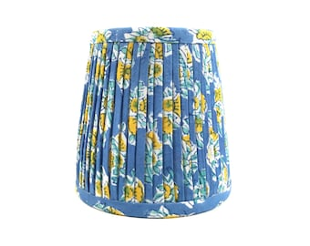 Blue yellow white hand pleated mini shade chandelier sconce boho gathered home decor