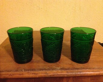 Vintage Anchor Hocking Oatmeal Glass Sandwich Pattern Water Glasses