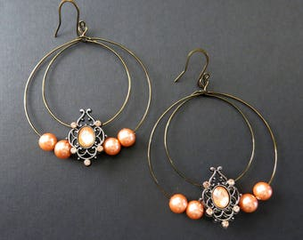 Orange/peach beaded double hooped earrings