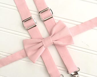 David's Bridal Blush Suspenders and Bow Tie - light pink suspenders and bow tie - pale pink bow tie - blush pink suspenders and bow