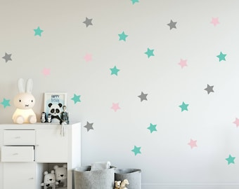 Stars Decal - Choose Your Color, Geometric Wall Decal, Wall Decals Nursery, Scandinavian Design, Space Wall Stickers, Nursery Wall Art