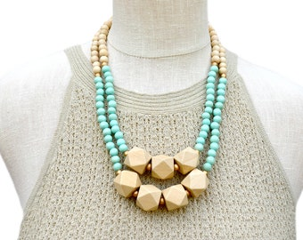 mint necklace / wood bead necklace / mint green necklace / light turquoise beaded necklace / geometric necklace / statement necklace