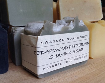 Shaving Soap, Cedarwood Peppermint, All Natural Soap, Handcrafted Soap Bars