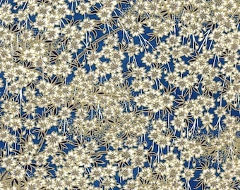 Chiyogami or yuzen paper - Japanese cherry blossoms, white, ultramarine blue, 9x12 inches