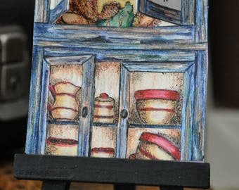 Artist Trading Card,ACEO pop-up of a cupboard,open the top doors and a naughty teddy bear is seen,done in mixed media,comes with mini easel
