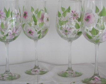 On Sale Wine glasses set of four hand painted with pink and white Daisies, Pansies, wild flowers, great Mothers day gift, Birthday