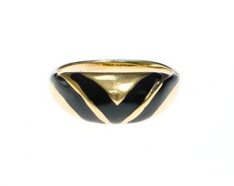 Vintage Avon Gold Ring with Black Enamel Details