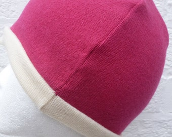 Hot pink beanie hat small womens accessory lambswool ladies winter hat handmade eco-friendly small knitwear cream beanie reversible cosy hat