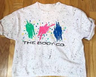 80s The Body Co. White Black Paint Splatter Boxy Oversized T Shirt, Size Large to XL
