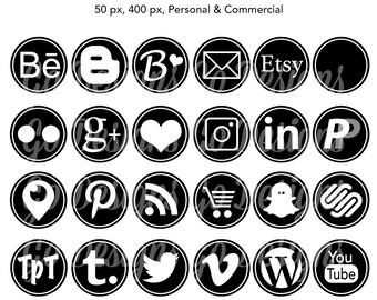 Round Black + White Social Media Icons, Black Social Graphics with White Border, Blogger, Pinterest, Instagram, Instant Download