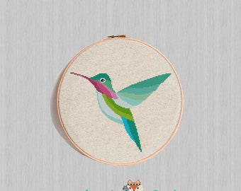 Hummingbird cross stitch pattern Colourful Bird Geometric Modern Counted Cross Stitch Watercolor Animal Embroidery Chart Easy Funny Birth