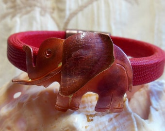 Elephant and donkey bracelets, Election year bracelets, Democrat or Republican, red and blue licorice leather bracelets, magnetic clasp