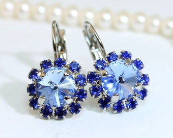 Sapphire Blue Earrings Royal Blue Earrings Swarovski Crystal Blue Drop Earrings Something Blue Rhinestones Halo,Silver,Light Sapphire,GE96