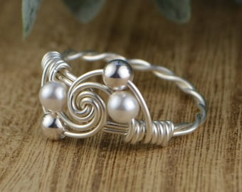 Pearl Swirl Wrapped Ring- Sterling Silver, Yellow or Rose Gold Filled Wire with White Swarovski Pearls- Any Size 4 5 6 7 8 9 10 11 12 13 14