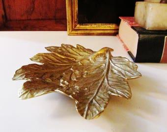 VA Metalcrafters Chrysanthemum Leaf Dish, Virginia Metalcrafters Mum Tray, Fall Decor, Brass Leaf Dish
