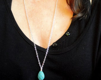 Silver and turquoise necklace, Long turquoise necklace, Turquoise necklace, Gemstone necklace, Gifts