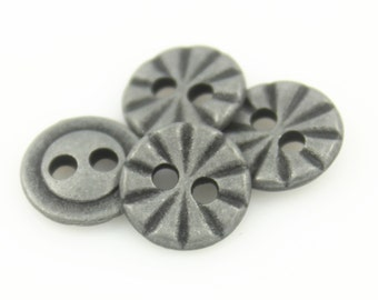 Metal Buttons - Dull Silver Radial Lines Hole Buttons - 11mm - 7/16 inch - 6 pcs