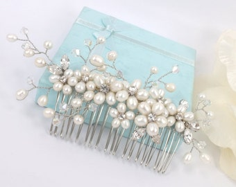 A Faery Festival - Freshwater Pearl, Rhinestone and Swarovski Crystal Bridal comb