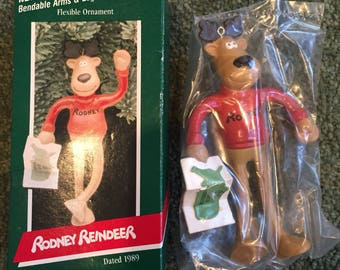 Vintage Christmas Hallmark Ornament 1989 Rodney Reindeer Bendable