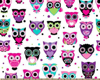"""Snuggle Flannel, Owl's Bright White, 42"""" Kids Flannel Flannel, Pink, Purple, White, Cotton, By the Yard"""