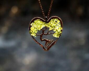 TREE OF LIFE, Peridot Tree of Life Necklace, Peridot Jewelry, Family Tree, August Birthstone, Valentines Gift