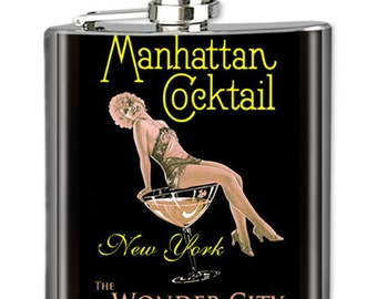 Photo Flask, Art Flask, Liquor Flask, HIp Flask - Handmade in NYC - MANHATTAN COCKTAIL - Sealed in Resin - 4 sizes