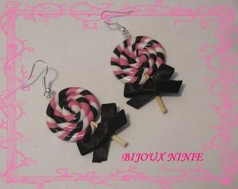Rolled rose, black polymer clay lollipop earrings