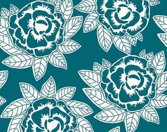 """Fabric, Cotton quilt fabric, by the yard or half yard, or fat quarter,  """"Indie Chic"""", white flowers on blue background, RB11"""