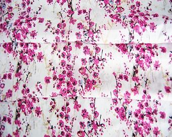 150cm width chinese folk rosyred pink plum blossom flower white chiffon fabric by yard