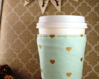 Fabric Coffee Cozy / Gold Hearts on Mint Coffee Cozy / Hearts Coffee Cozy / Mint Coffee Cozy / Coffee Cozy / Tea Cozy