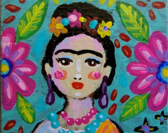 Original Small Folk Art Frida Magnet