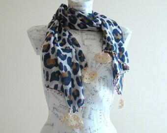 Summer scarf scarf cotton leopard print scarf crochet pareo wrap beach pareo fashion scarf summer scarfs crochet edge rectangular scarf