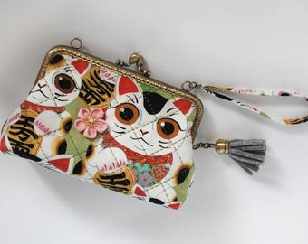 "7"" Clutch Bag – Fuku Kitty Sage"