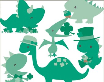 St Patrick's Day Clipart Set -Personal and Commercial Use- Green Dinosaur Shamrock Clip Art