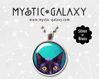 Peeking Black Cat Necklace, Blue Cat Face Pendant with Chain