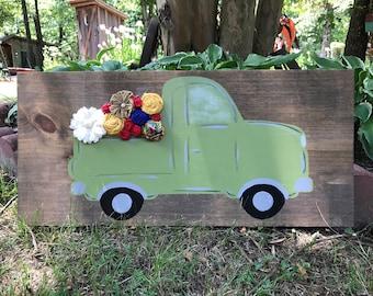 Old green pickup,country,rustic,vintage,nursery,kids room,