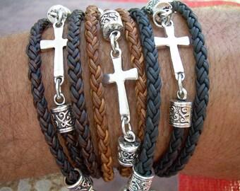 Womens Leather Bracelet, Leather Wrap Cross Bracelet, Religious Gift, Mens Bracelet, Faith, Mens Jewelry, Fathers Day, Womens Jewelry, Cross