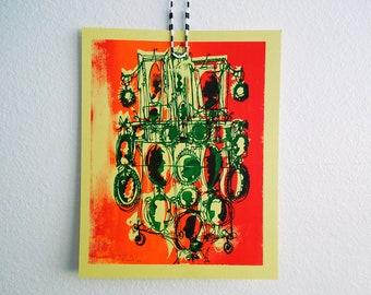 KAMEEN #140 | Wilde Siebdruck in strukturierten hell grün, Dayglo orange auf Banana Split (8 x 10)