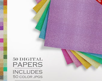 B2G1 HUGE 50 Piece Glitter Digital Paper Pack - Sparkly Glitter Scrapbook Paper - Gold Silver Background Texture Pattern Scrapbook Paper