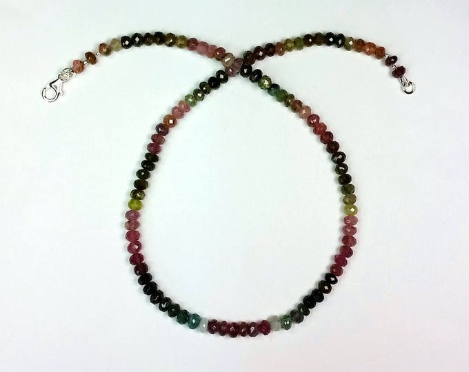 Rainbow Tourmaline Necklace - Multicolor Necklace - Symmetrical Pattern Jewelry - Semiprecious Jewelry - Understated Beauty