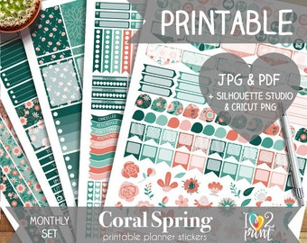Coral Spring Printable Planner Stickers, Erin Condren Planner Stickers, Monthly Planner Stickers, March Stickers, SILHOUETTE/CRICUT