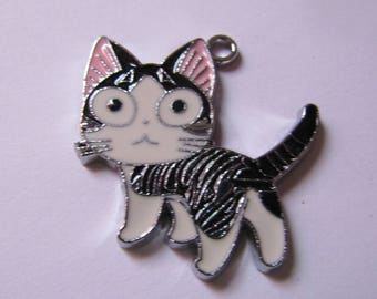 Pendant black white and pink cat 31mmx30mm