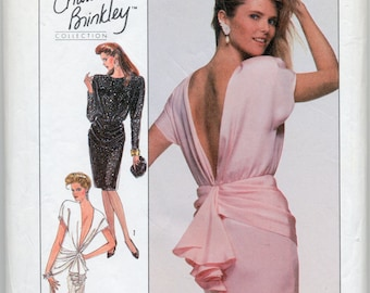 Vintage Christie Brinkley Collection Dress With Back Cascade - Simplicity 8944 - Size 20 - UNCUT